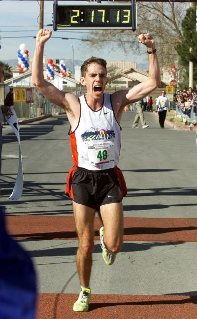 Winning the 2000 Las Vegas International marathon.